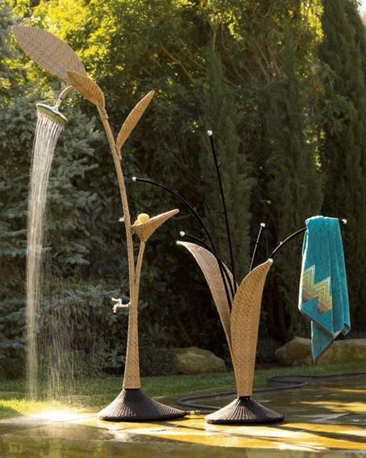 Unique Outdoor Shower Wicker Design Ideas
