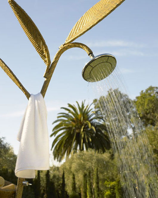 outdoor shower wicker ideas garden decorating