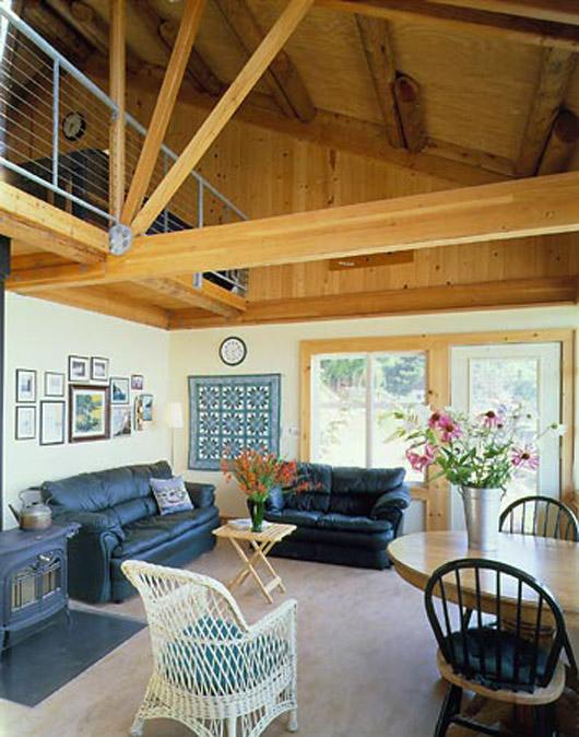 cabin wooden home design living room