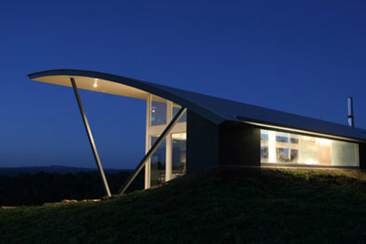 modern glass home design curved roof