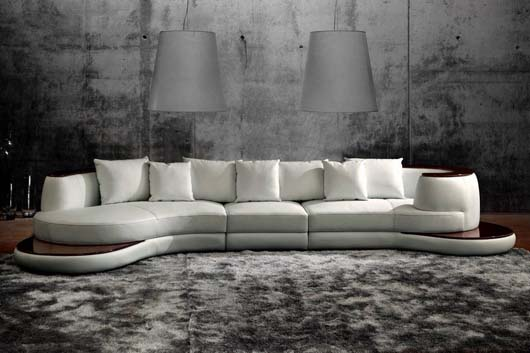 Design living room sofa unique shape white color