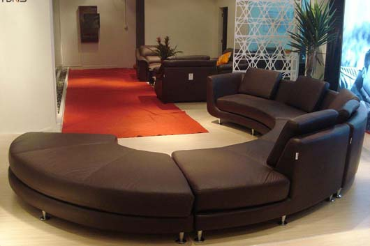 Circle Design Living Room Furniture Ideas Contemporary Leather Sofa
