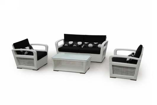 Modern White Wicker Patio Set Design Outdoor Home Furniture