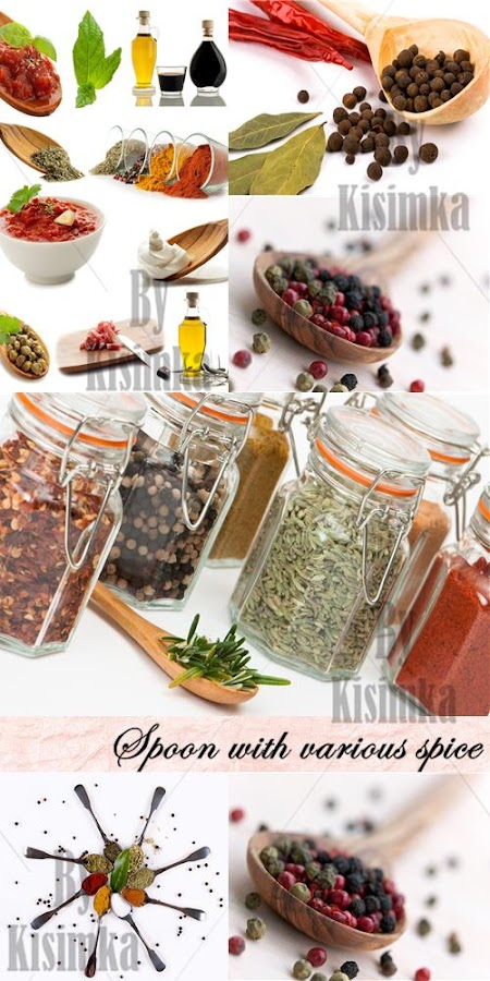 Stock Photo: Spoon with various spice