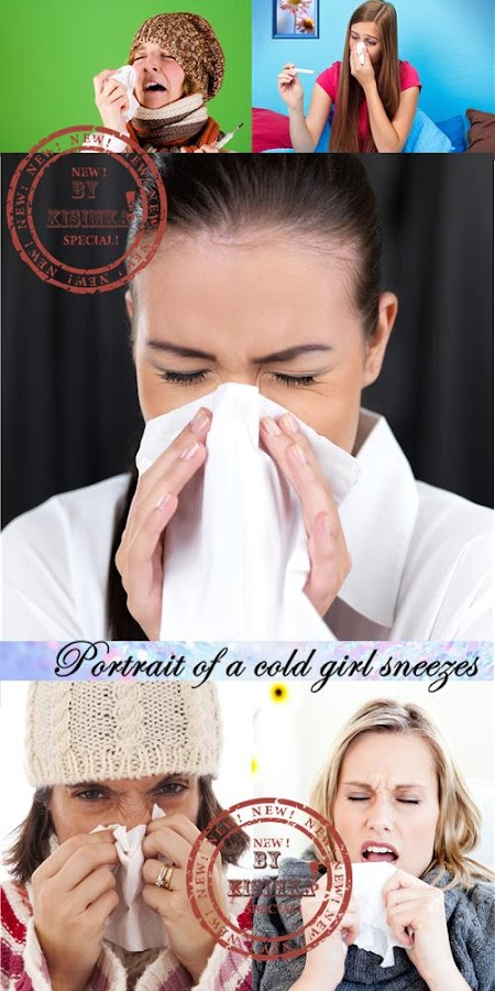 Stock Photo: Portrait of a cold girl sneezes