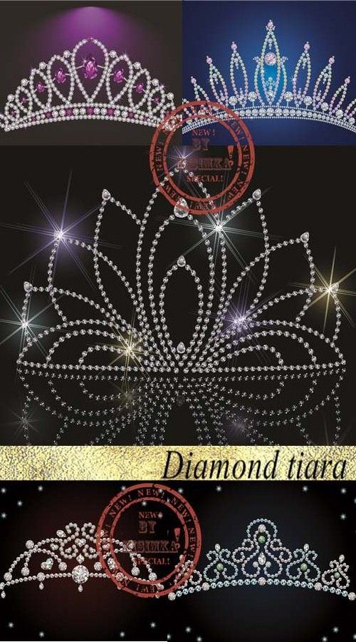 Stock: Diamond tiara - bridal, princess or beauty queen vector illustrations