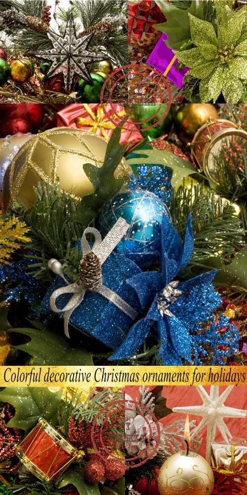 Stock Photo: Colorful decorative Christmas ornaments for holidays