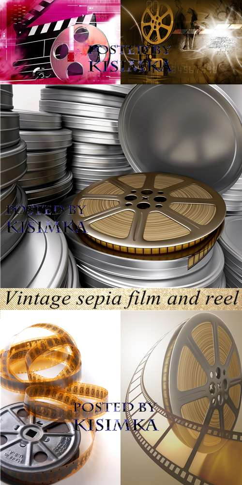 Stock Photo: Vintage sepia film and reel