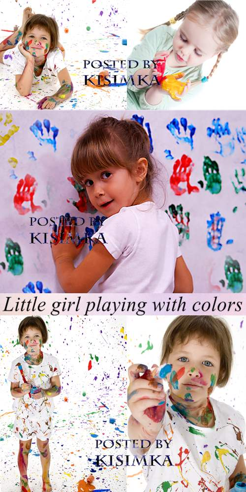 Stock Photo: Little girl playing with colors
