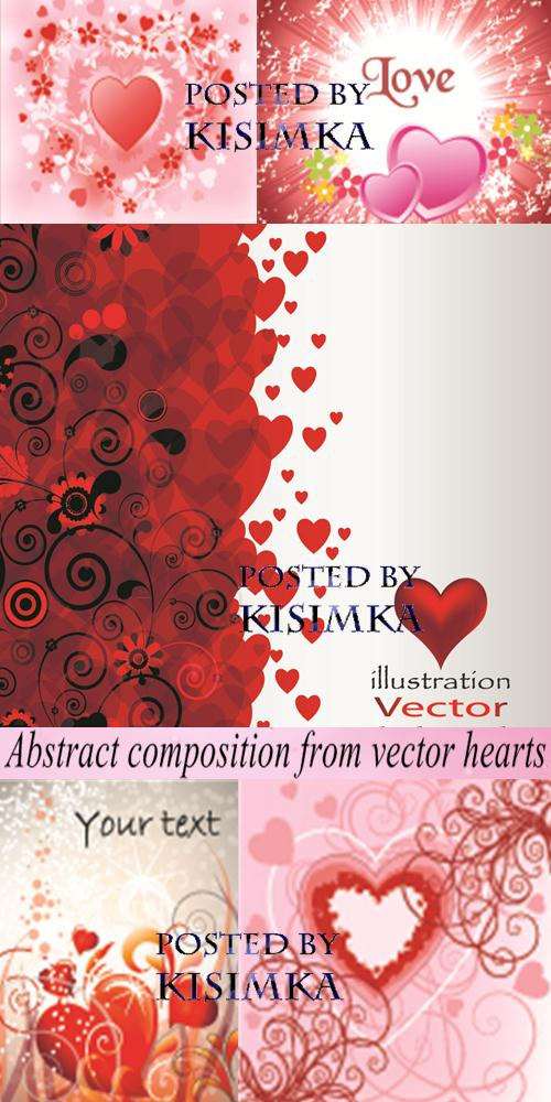 Stock: Abstract composition from vector hearts