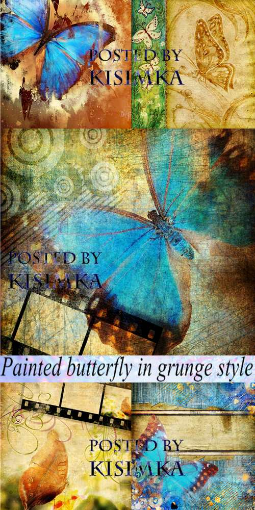 Stock Photo: Painted butterfly in grunge style