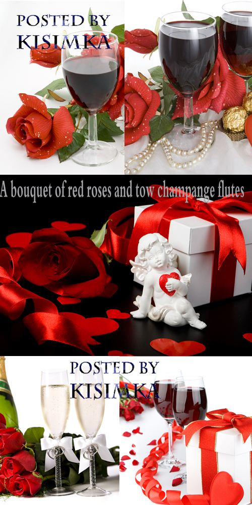 Stock Photo: A bouquet of red roses and tow champange flutes