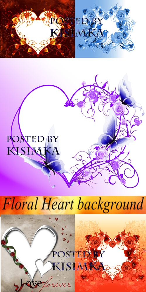 Stock Photo: Floral Heart background