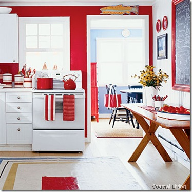 cornell red and white kitchen-coastal living