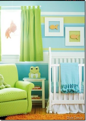 nursery bright green style decor