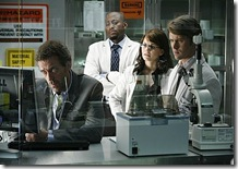 HOUSE:  House (Hugh Laurie, L) and the team (L-R:  Omar Epps, Jennifer Morrison and Jesse Spencer) search for clues to help diagnose a patient in the HOUSE episode