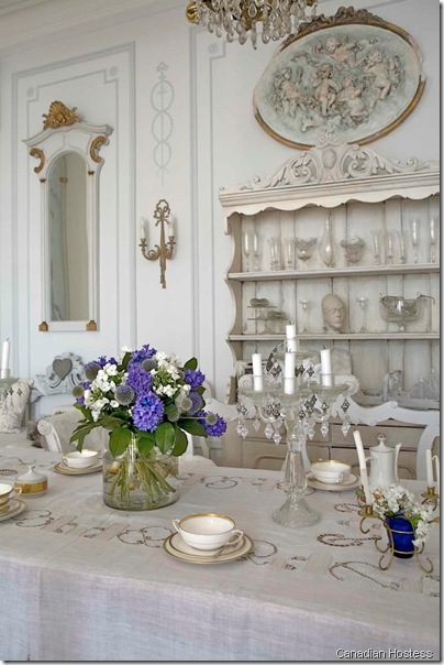 Swedish Interior Design---swedish gustavian country style dining table with antique swedish dresser canadian hostess
