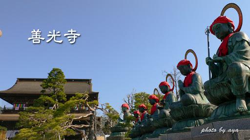 善光寺山門とぬれ仏(延命地蔵)&六地蔵