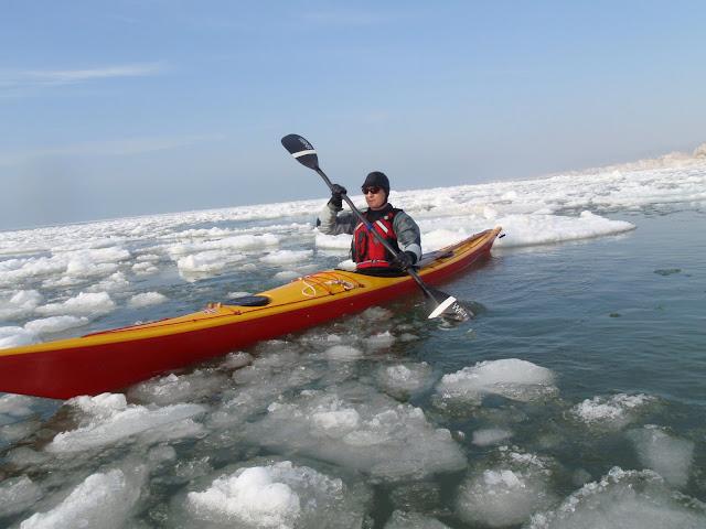 John Fleming stuck in the ice in his sea kayak