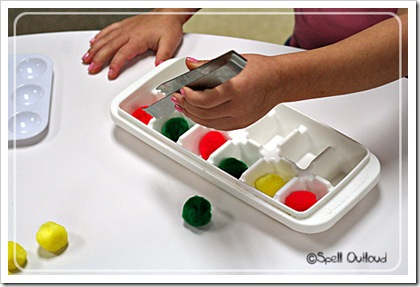 Preschool Sorting and Patterning with Ice Cube Trays