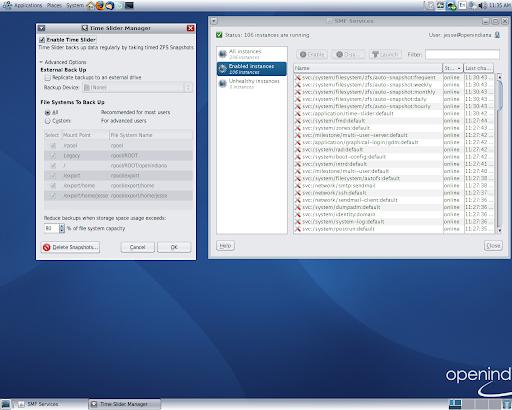 OpenIndiana dev-146 - herramientas de administración (La imagen a tamaño completo: 625kb resolución, 1280x1024 píxeles)
