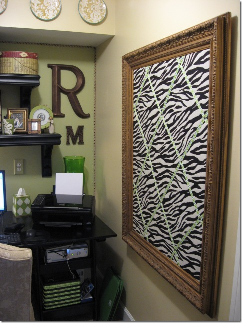 frame made into bulletin board with fabric