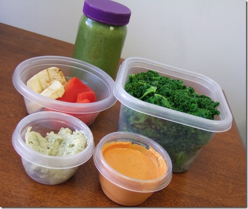 Lunchbox with kale, green smoothie and sundry