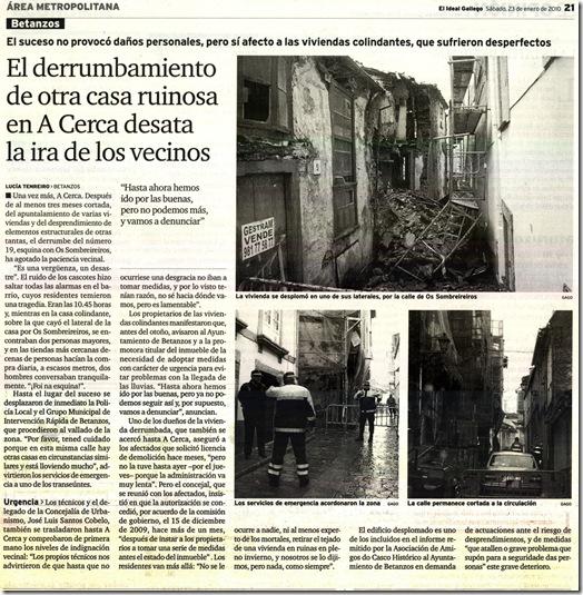 """Recorte do xornal """"El Ideal Gallego"""" correspondente ao sábado 23 de xaneiro de 2010"""