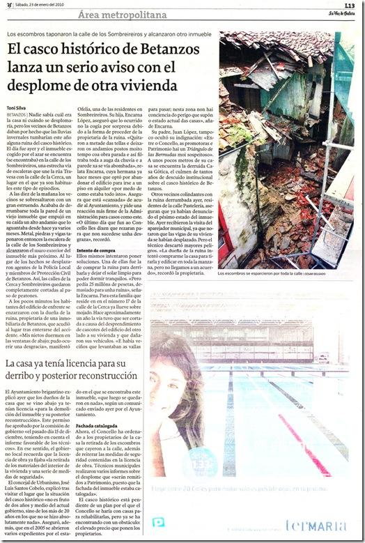 """Recorte do  xornal """"La Voz de Galicia"""" correspondente ao sábado 23 de xaneiro de 2010."""