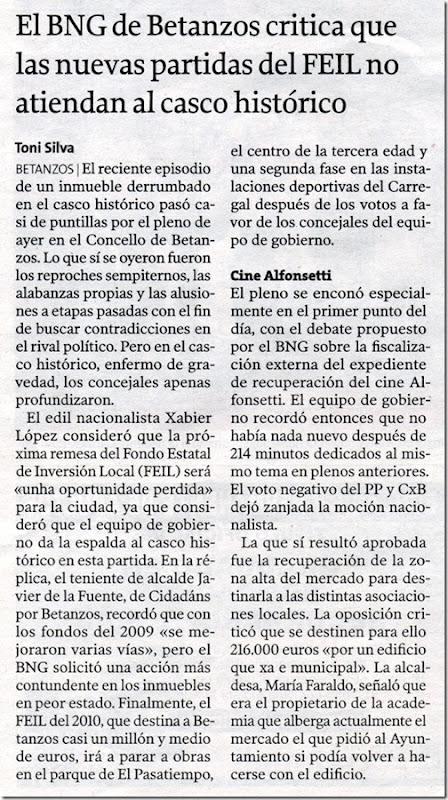 """Recorte do  xornal """"La Voz de Galicia"""" correspondente ao mércores 27 de xaneiro de 2010."""