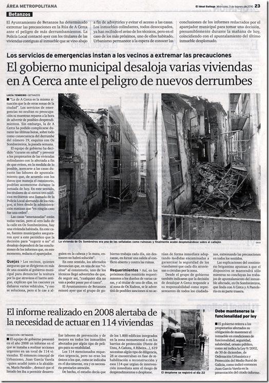 """Recorte do xornal """"El Ideal Gallego"""" correspondente ao mércores 3 de febreiro de 2010"""