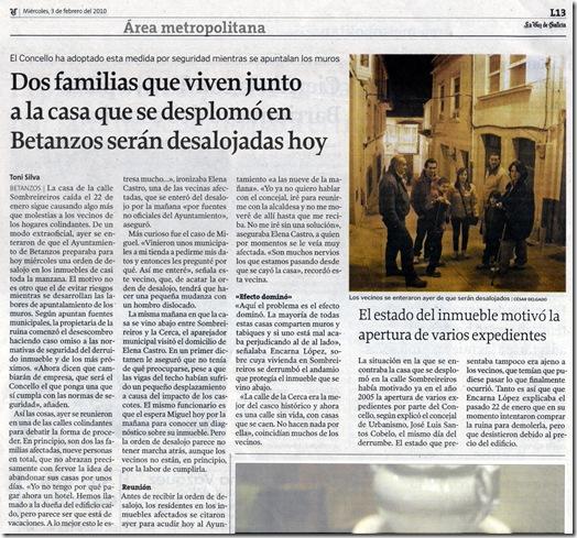 """Recorte do  xornal """"La Voz de Galicia"""" correspondente ao mércores 3 de febreiro de 2010."""