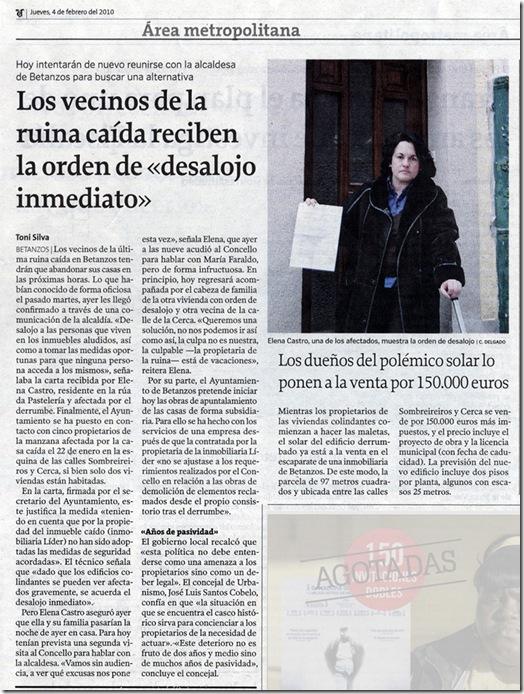 """Recorte do  xornal """"La Voz de Galicia"""" correspondente ao xoves 4 de febreiro de 2010"""