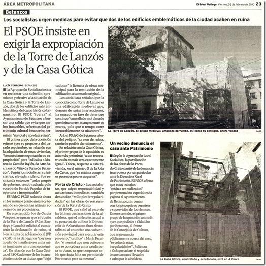 """Recorte do xornal """"El Ideal Gallego"""" correspondente ao venres 26 de febreiro de 2010"""