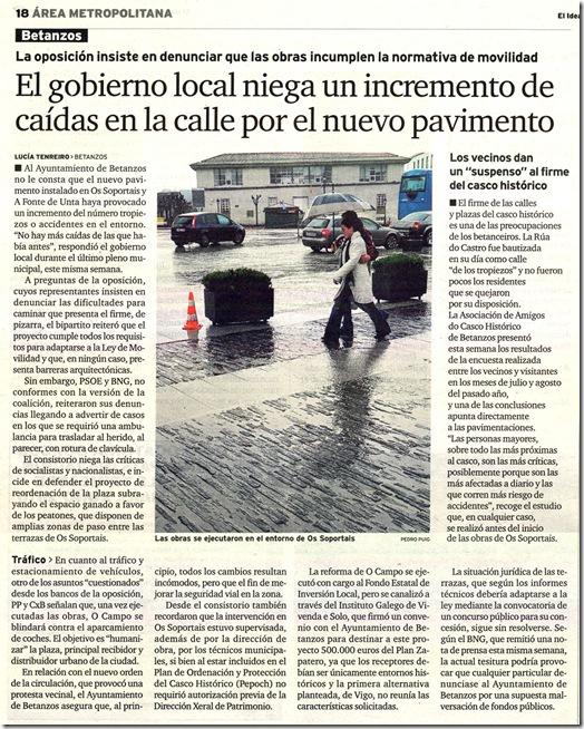 """Recorte do xornal """"El Ideal Gallego"""" correspondente ao domingo 28 de febreiro de 2010"""