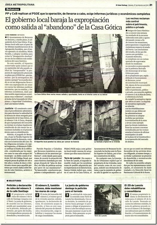 """Recorte do xornal """"El Ideal Gallego"""" correspondente ao sábado 27 de febreiro de 2010"""