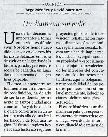 """Recorte do  xornal """"La Voz de Galicia"""" correspondente ao luns 8 de marzo de 2010"""