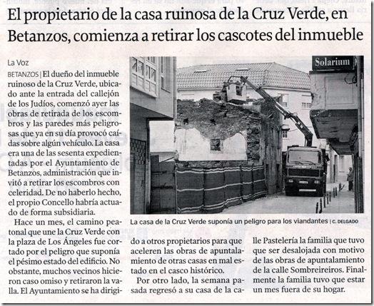 """Recorte do  xornal """"La Voz de Galicia"""" correspondente ao martes 9 de marzo de 2010"""