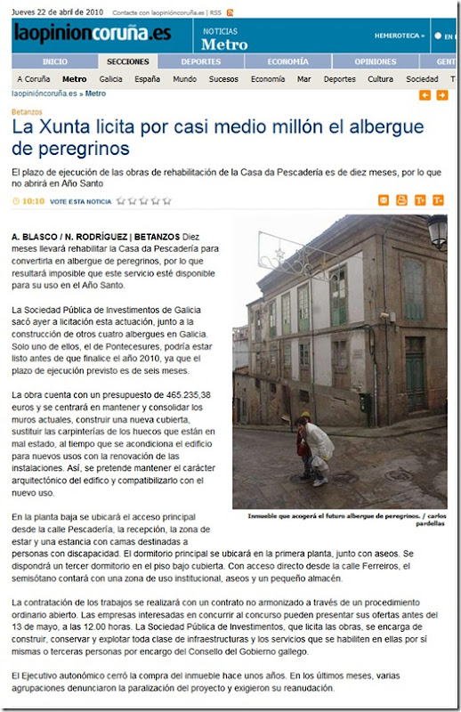 """Recorte da edición dixital do xornal  """"La Opinión"""" correspondente ao xoves 22 de abril de 2010"""