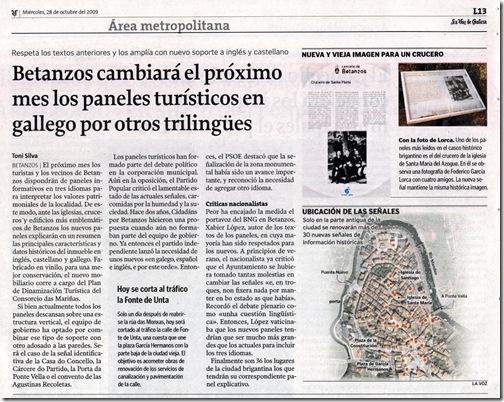 """Recorte do xornarl """"La Voz de Galicia"""" correspondente ao mércores 28 de outubro de 2009"""