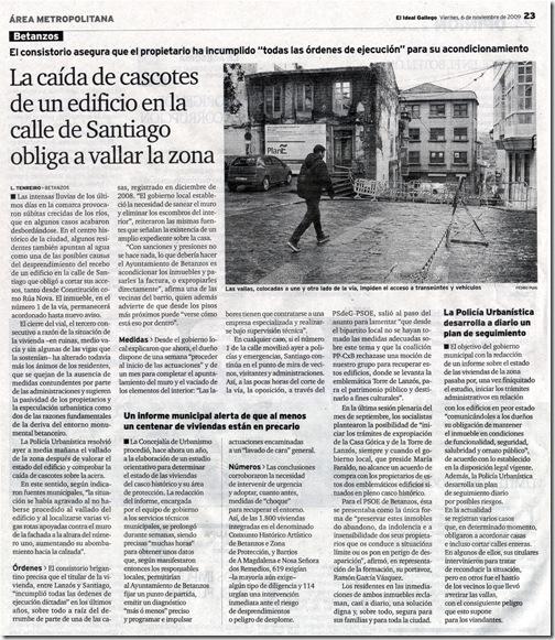 """Recorte do xornal """"El Ideal Gallego correspondente ao venres 6 de novembro de 2009"""