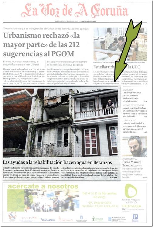 Recorte do xornal La Voz de Galicia correspondente ao martes 1 de decembro de 2009