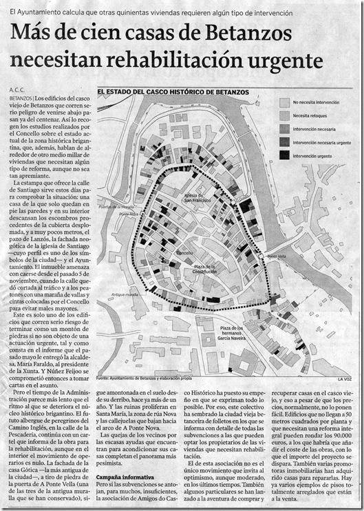 """Recorte do  xornal """"La Voz de Galicia"""" do venres 4 de decembro de 2009"""