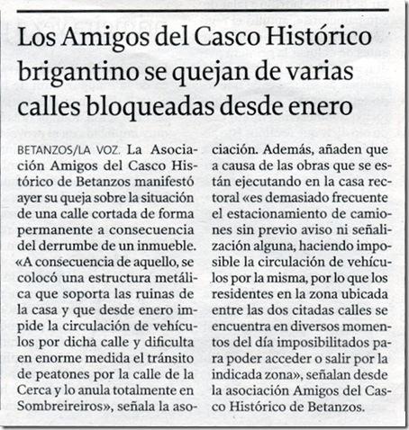 """Recorte do  xornal """"La Voz de Galicia"""" correspondente ao sábado 5 de xuño de 2010"""