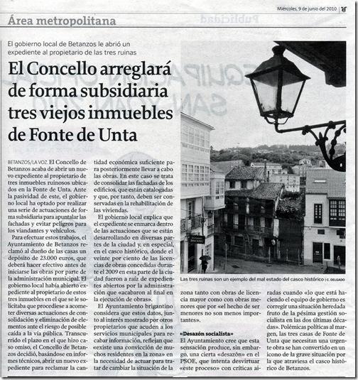 """Recorte do  xornal """"La Voz de Galicia"""" correspondente ao mércores 9 de xuño de 2010"""