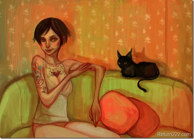 a_lady_and_a_black_cat_by_Joysuke