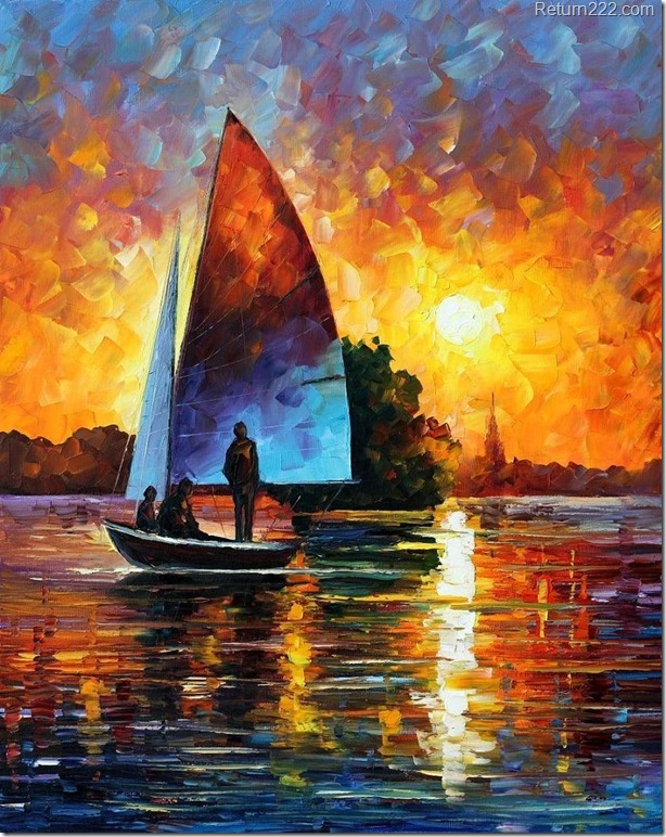 sunset_by_the_lake___afremov_by_leonidafremov-d3a97l1