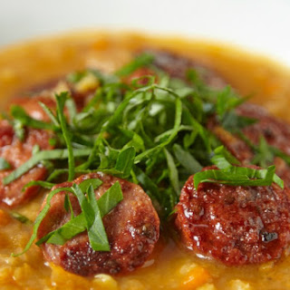 Apple and Yellow Lentil Soup with Sweet Italian Sausage