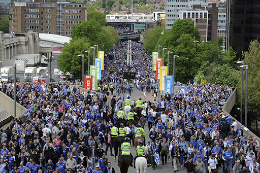Fans from both teams head up Wembley Way
