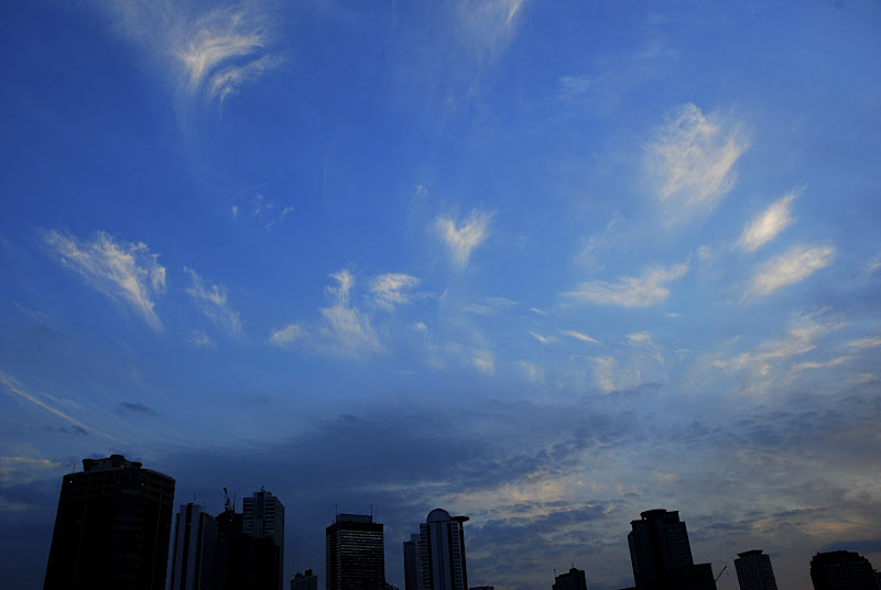 Whispy clouds fisheye over Shinjuku